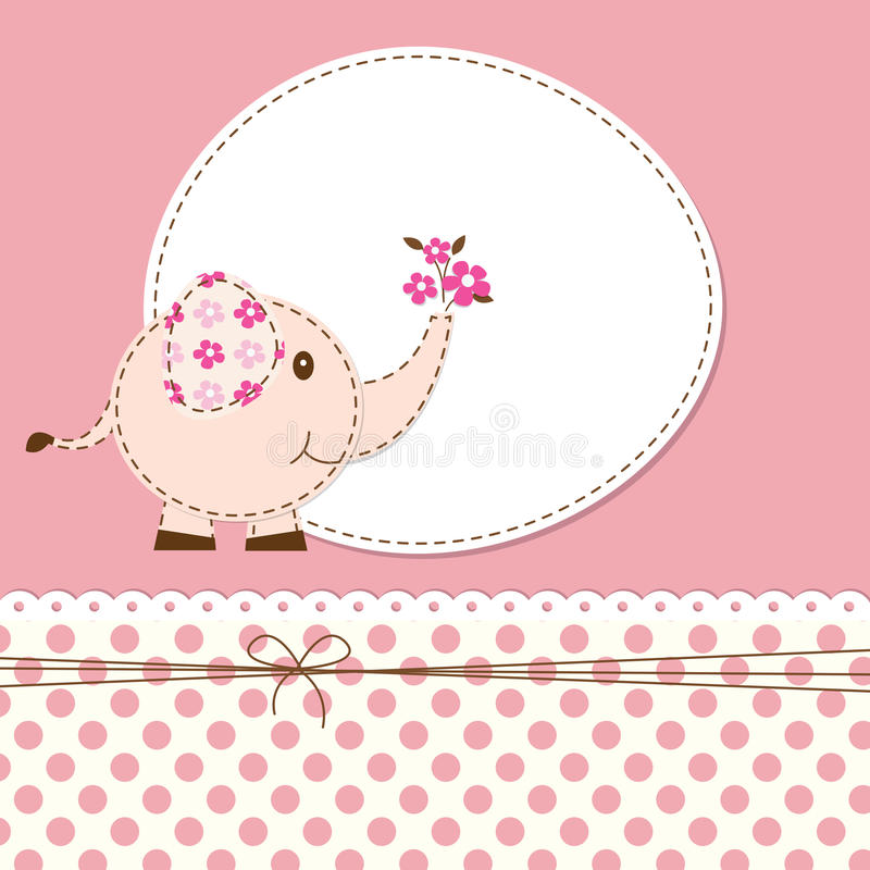 Baby shower with elephant stock illustration