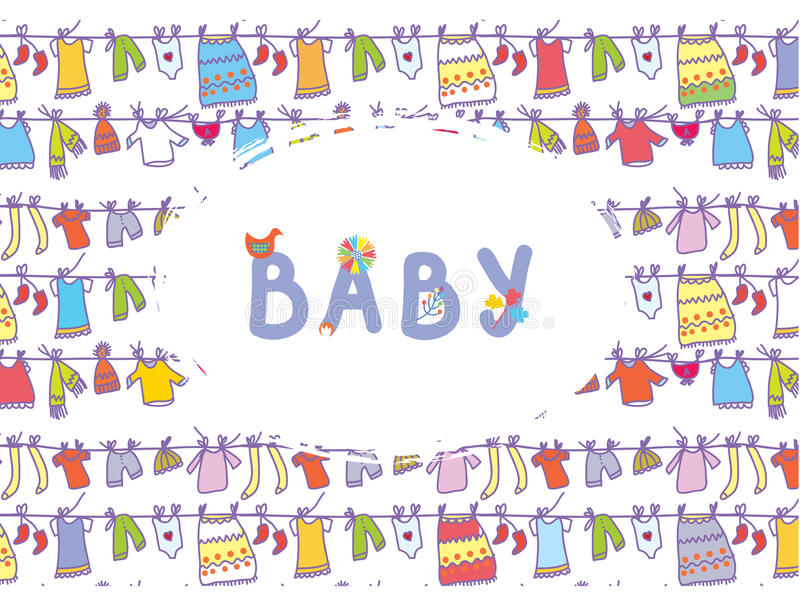 Baby shower funny card with laundry. Pattern stock illustration
