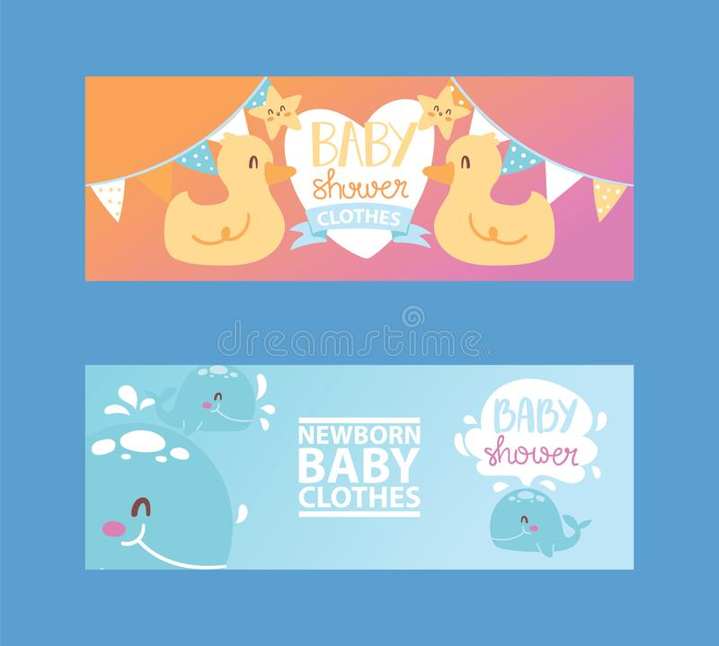 Baby shower girl and boy clothes, vector illustration. Clothing fornewborn children. Cute cartoon ducks, stars and. Baby shower girl and boy clothes, vector vector illustration