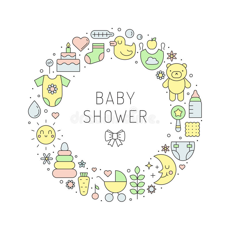 Baby shower girl & boy cute outline vector circle illustration royalty free illustration