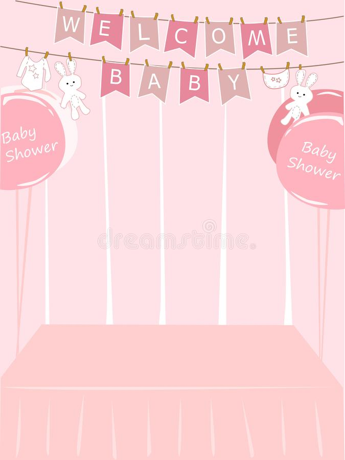 Baby Shower Girl Card Vector Stock Vector Illustration Of Graphic