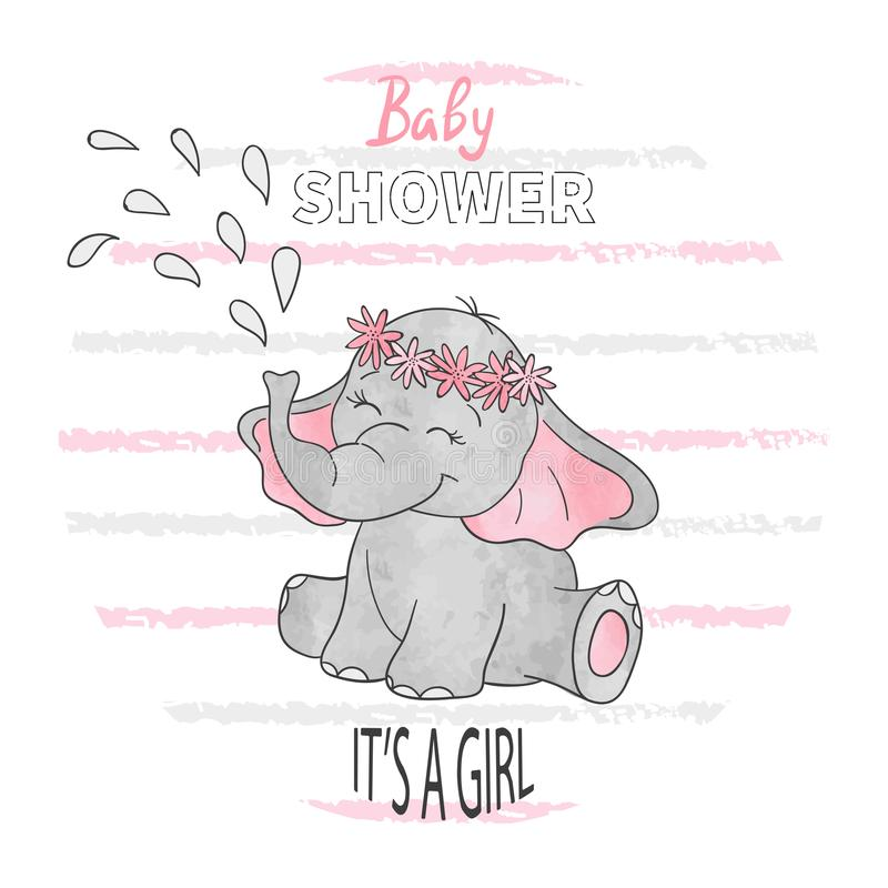 Baby shower girl. Vector illustration with cute baby elephant. royalty free illustration