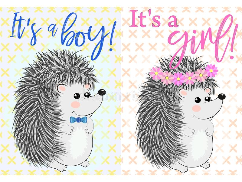 Baby Shower greeting card with babies boy and girl stock illustration