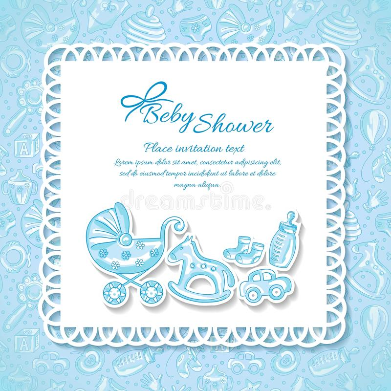 Baby shower greeting card for baby boy stock vector download baby shower greeting card for baby boy stock vector illustration of arrival negle Gallery