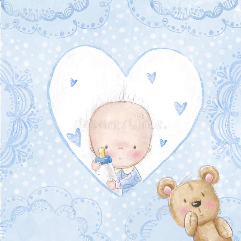 Baby shower greeting card. Baby boy with teddy, Love background for children. Baptism invitation. Newborn card design. royalty free illustration
