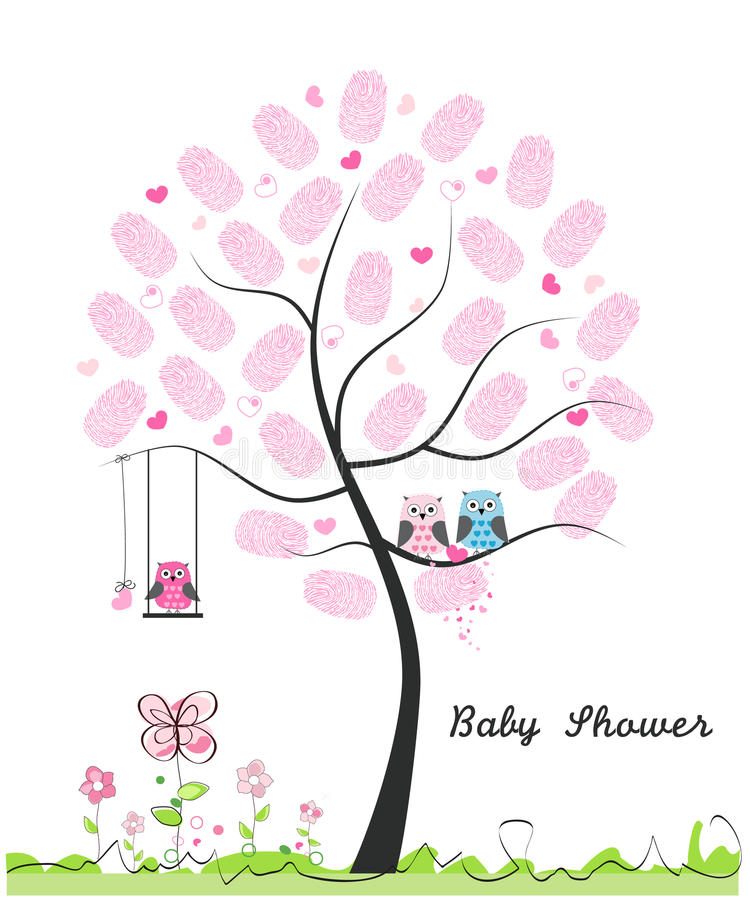 Baby shower greeting card. Baby girl. Baby owl. Owl family with made of finger prints tree vector illustration vector illustration