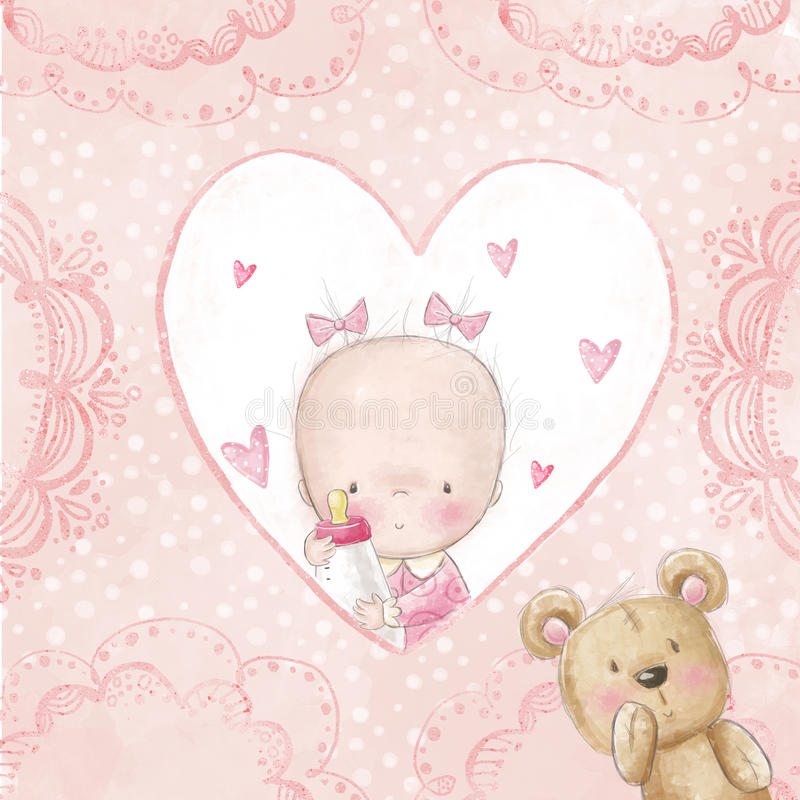 Baby shower greeting card.Baby girl with teddy,Love background for children.Baptism invitation. Newborn card design. stock illustration