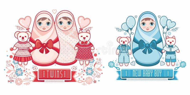 Baby Shower greeting card. Cute card for babies. Delicate colors. Baby Shower greeting card with babies boy and girl. Matryoshka design. newborn baby greeting vector illustration