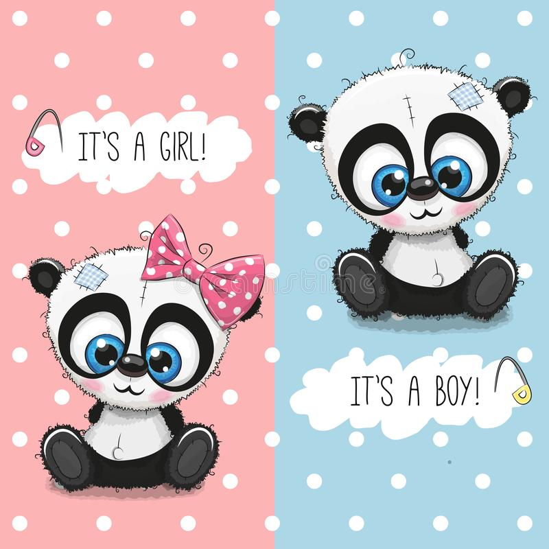 Baby Shower greeting card with Pandas boy and girl vector illustration
