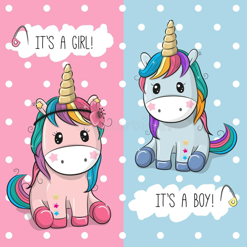 Baby Shower greeting card with Cute Unicorns royalty free illustration