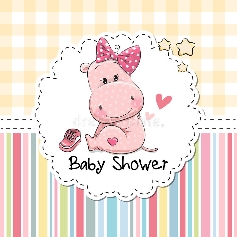 Baby Shower Greeting Card with Hippo stock illustration