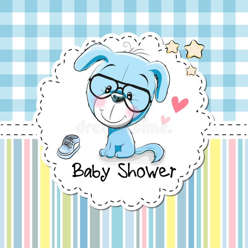 Baby Shower Greeting Card with Puppy vector illustration