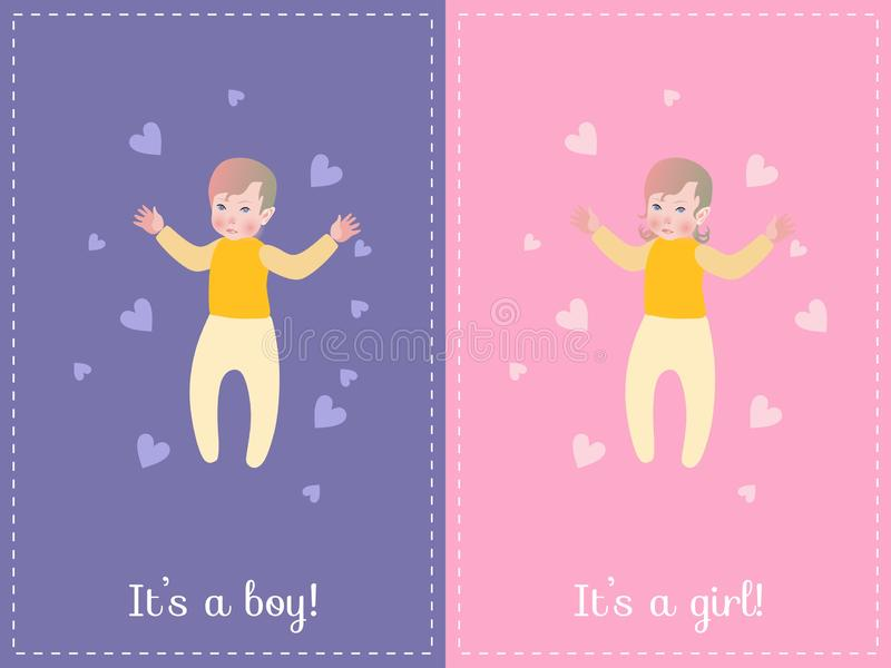Baby Shower greeting card. It`s a boy on blue background. It`s a girl on pink background. vector illustration
