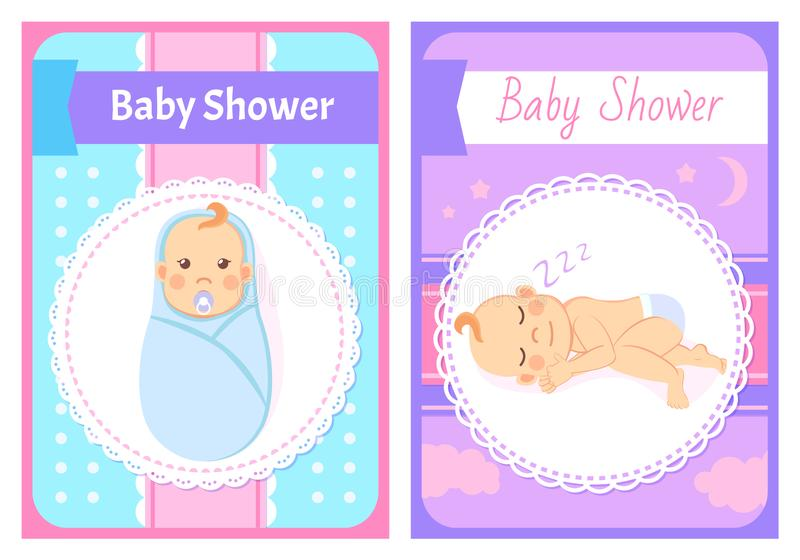 Baby Shower Greeting Cards, Kid Swaddle and Sleep stock illustration
