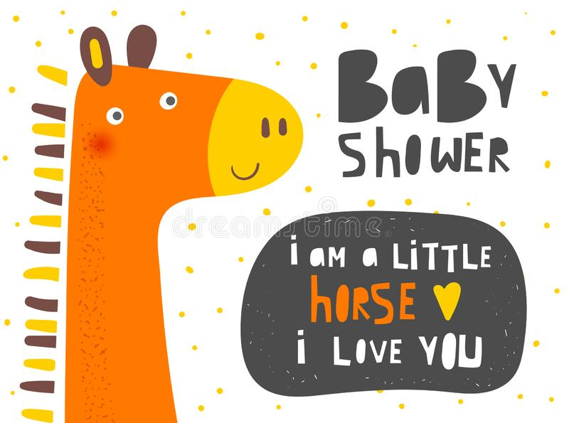 Baby shower horse with lettering quote, text space, heart. Card, postcard, tag, cover, banner with pony for kids stock illustration