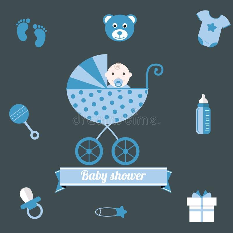 Baby shower icons set. boy blue vector illustration