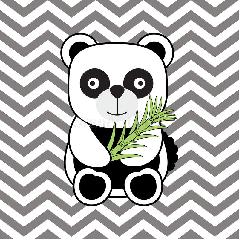 Baby Shower Illustration With Cute Baby Panda On Chevron Background ...