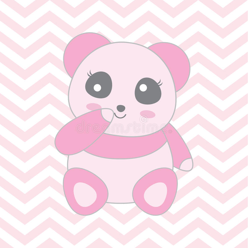 Baby Shower Illustration With Cute Baby Pink Panda On Chevron ...