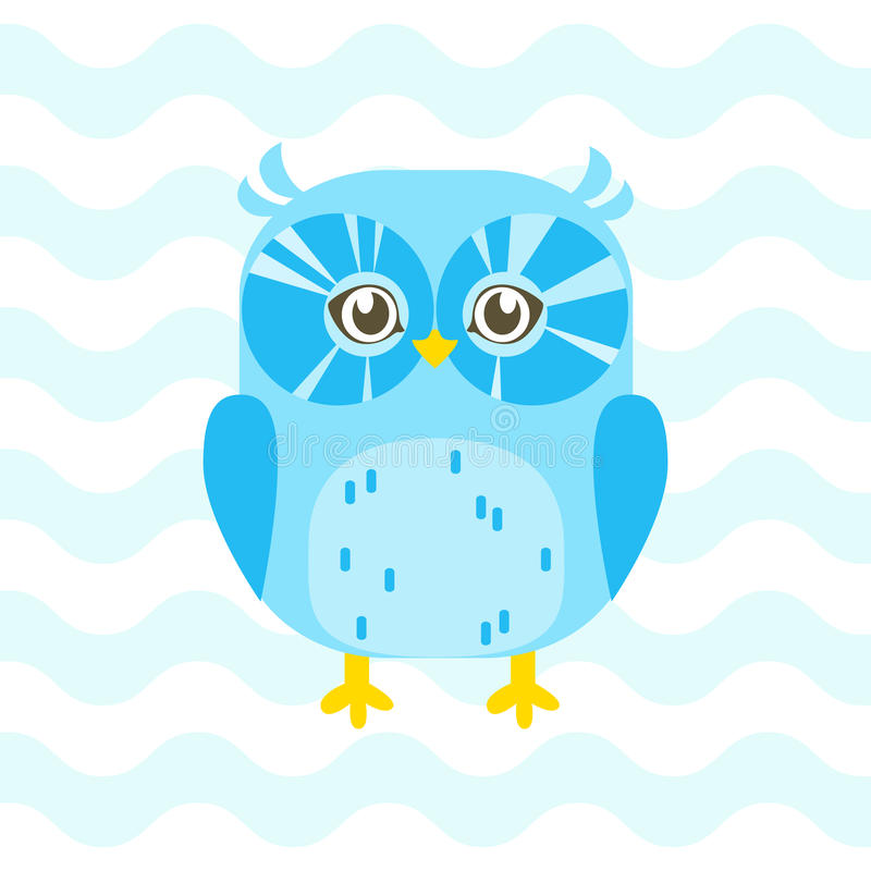 Baby shower illustration with cute blue baby owl on blue background suitable for baby shower invitation card, postcard, and nurse royalty free illustration