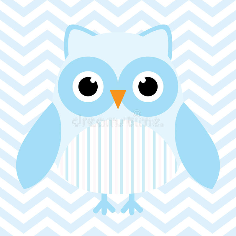 Baby shower illustration with cute blue baby owl on blue chevron background vector illustration