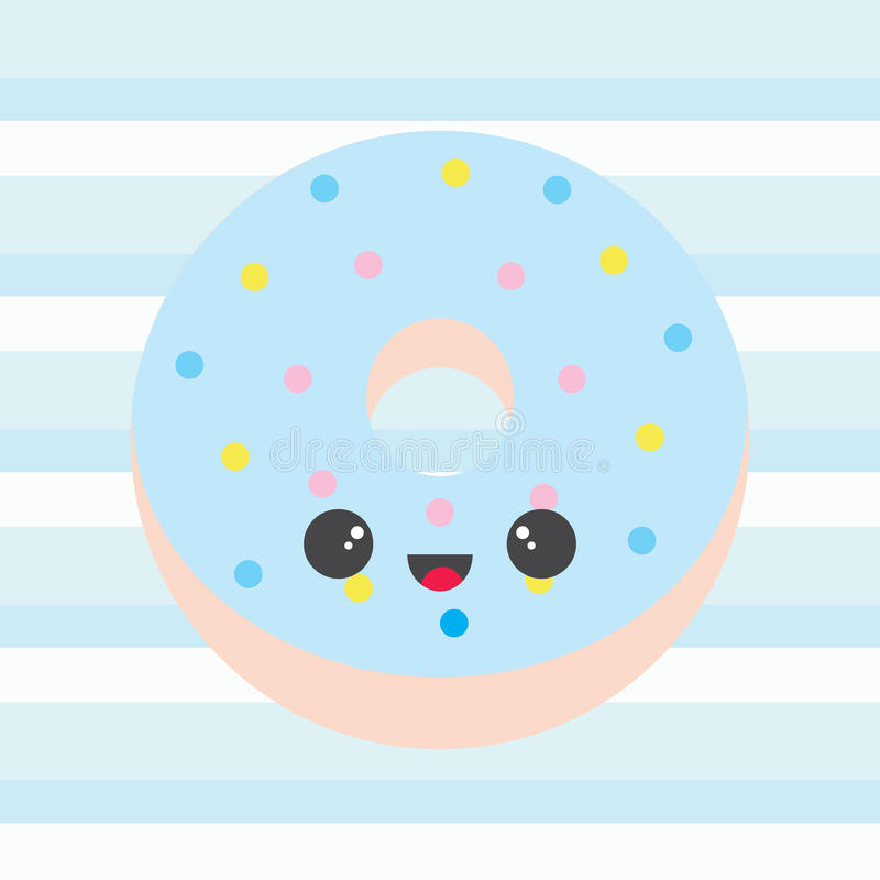 Baby shower illustration with cute blue doughnut on stripes. Background suitable for baby boy nursery wall, postcard, and invitation card vector illustration
