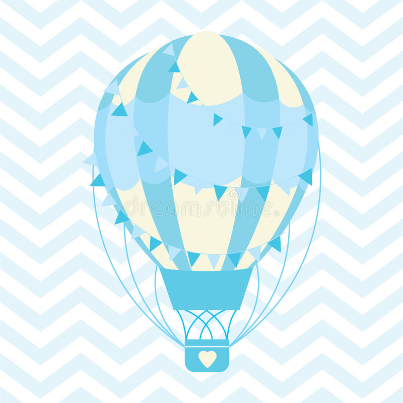 Baby Shower illustration with cute blue hot air balloon on chevron background vector illustration