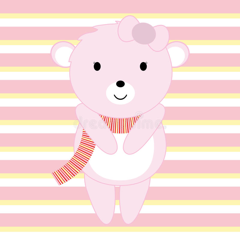 Baby Shower illustration with cute pink baby bear suitable for invitation card, postcard and nursery wall. Baby Shower illustration with cute pink baby bear royalty free illustration