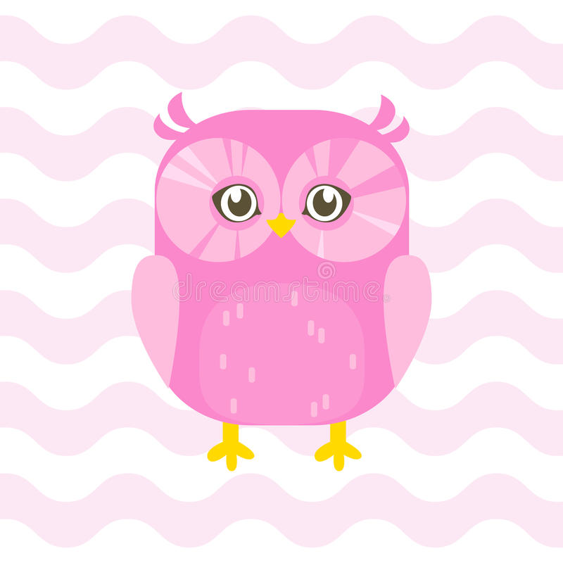 Baby shower illustration with cute pink baby owl on pink background suitable for baby shower invitation card, postcard, and nurse royalty free illustration