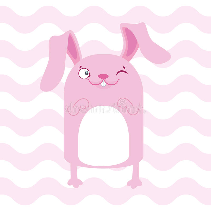 Baby shower illustration with cute pink banny on pink background royalty free illustration