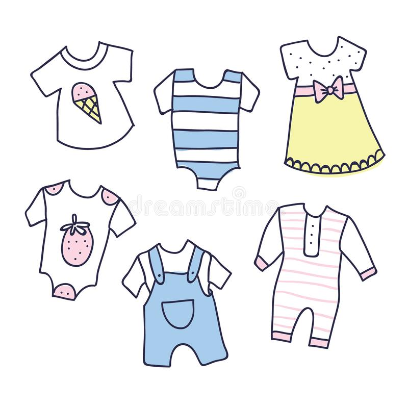 Baby shower illustration of girl and boy clothes vector illustration