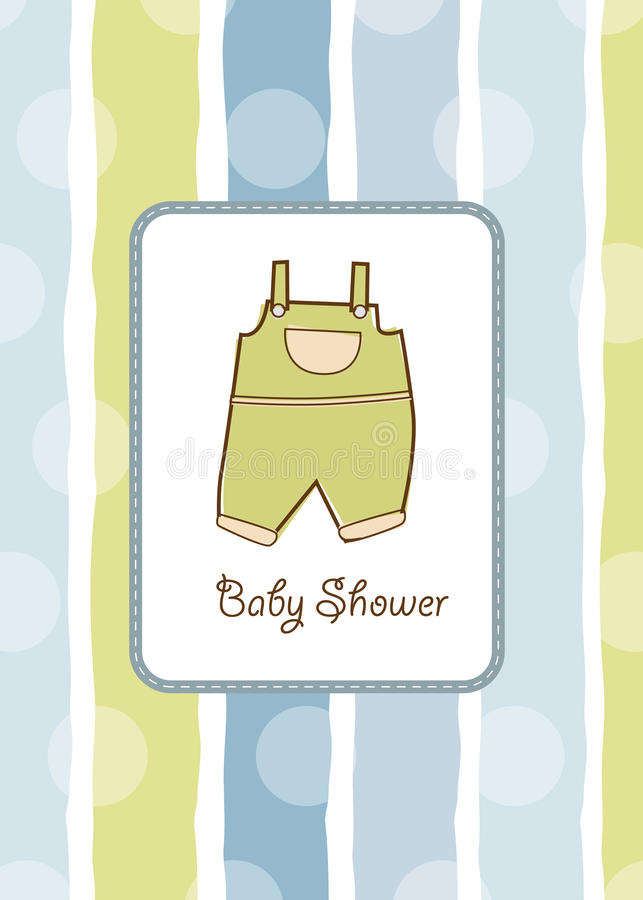 Baby shower invitation. With pants vector illustration