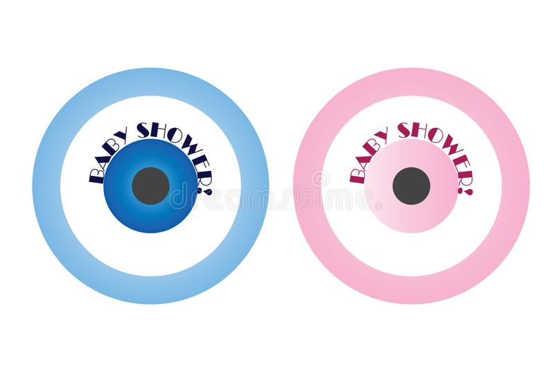 Baby shower invitation for boys and girls with blue and pink evil eye royalty free illustration