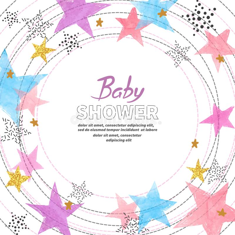 Baby Shower invitation card design with watercolor colorful stars. stock illustration