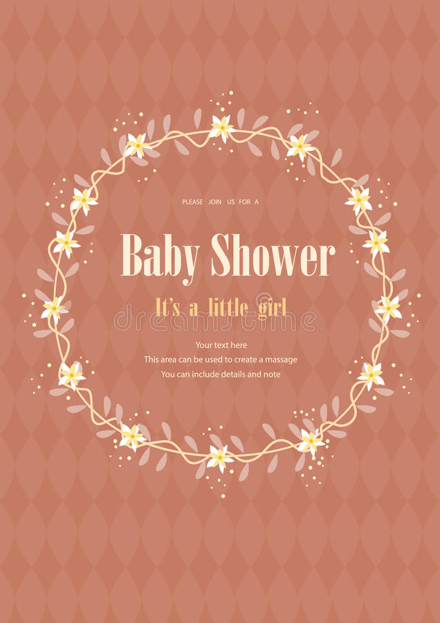 Baby Shower Invitation Card With Flower Crown,Vector Illustrations ...