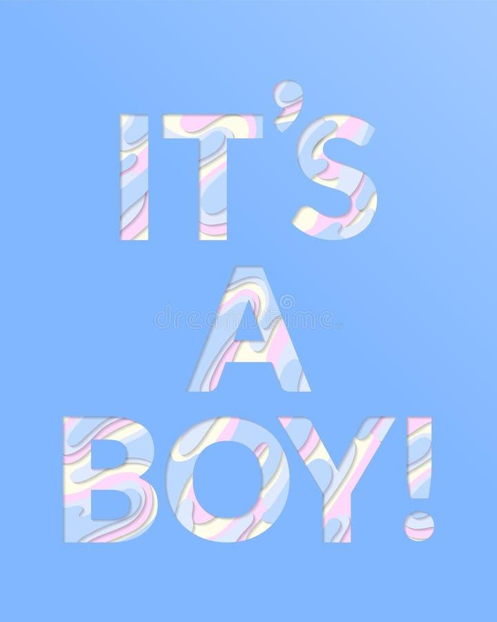 Baby shower invitation card. It`s a boy. vector illustration