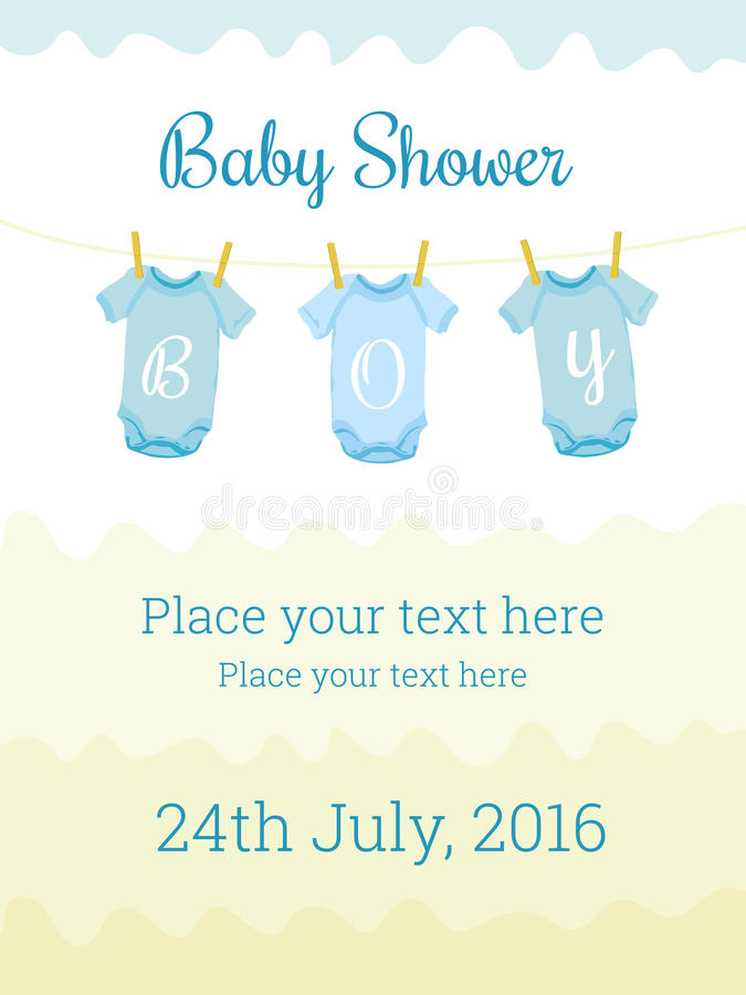 Baby Shower invitation card template for boy royalty free illustration