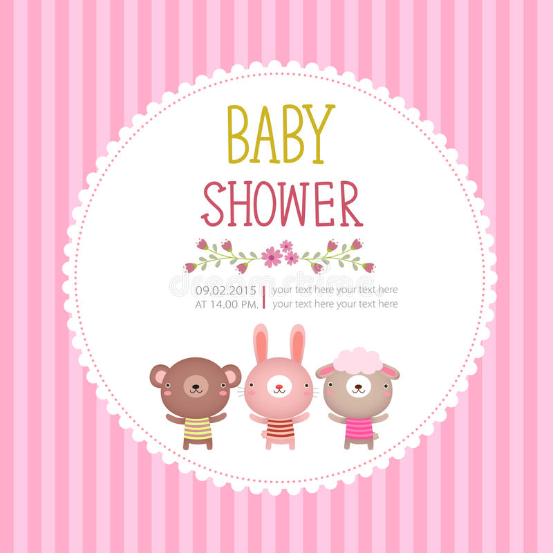 Baby shower invitation card template on pink background royalty free illustration