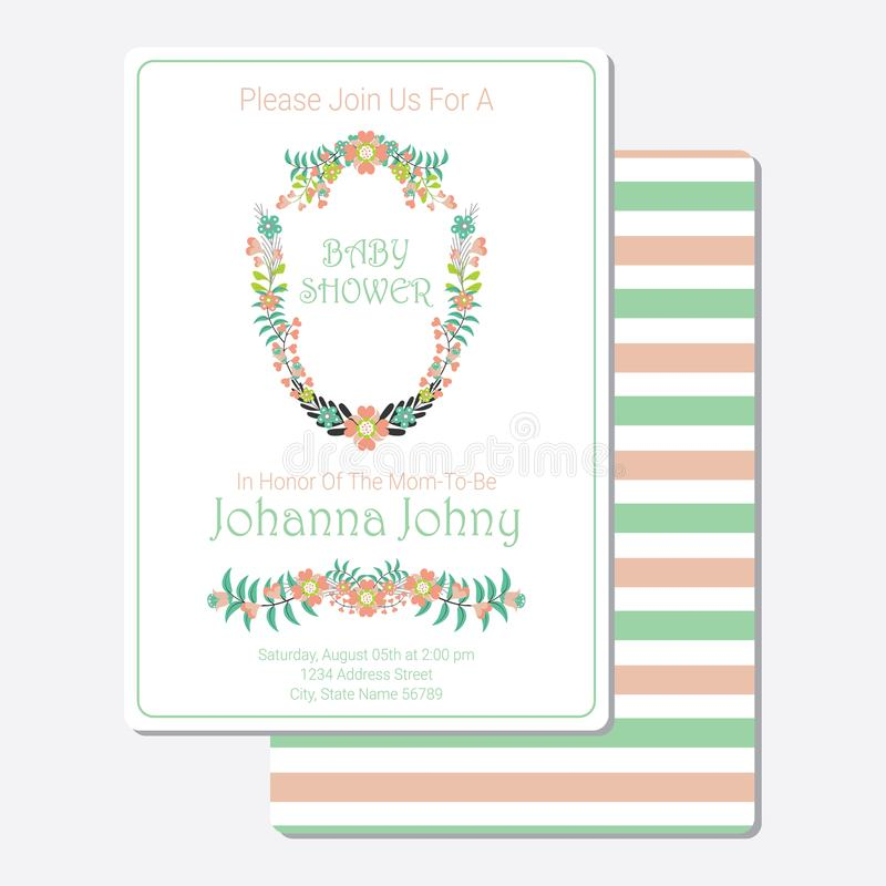 Baby Shower card vector design template with flowers wreath stock photography