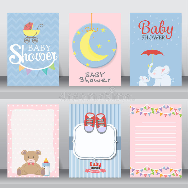 Baby shower invitation card. vector. Happy birthday, baby shower for newborn celebration greeting and invitation card or note. there are shoes, moon, dress stock illustration