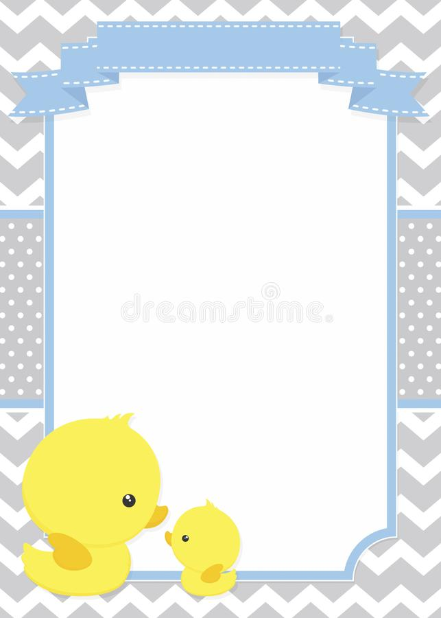 Invitation with cute duck mom and baby ducky stock vector download invitation with cute duck mom and baby ducky stock vector illustration of polka stopboris Images