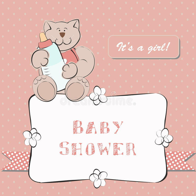Baby Shower Invitation with Dot Background vector illustration
