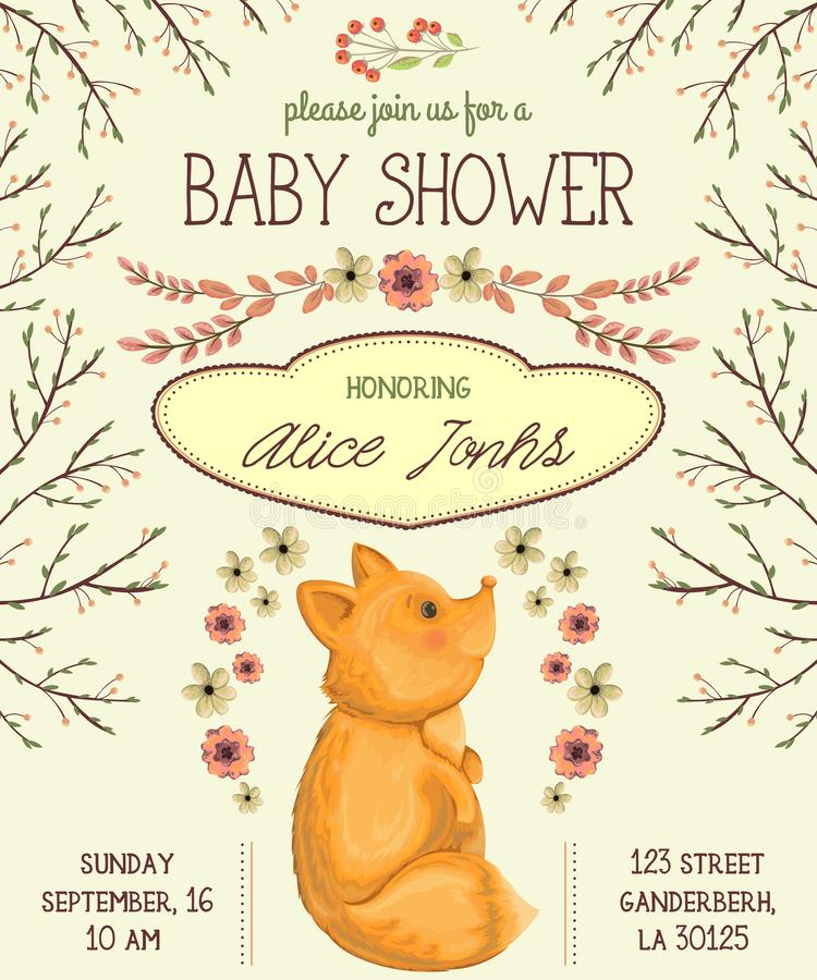 Baby shower invitation with fox, flowers, leaves and tree branches. vector illustration