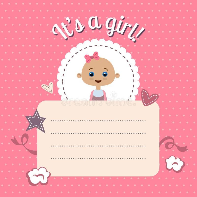 Baby Shower Invitation For Girl Stock Vector - Illustration of ...