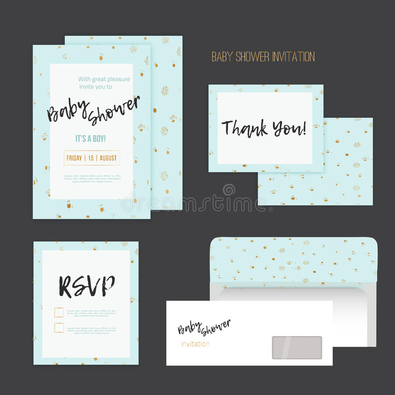 Baby Shower Invitation With Golden Dots On Blue Background With RSVP ...