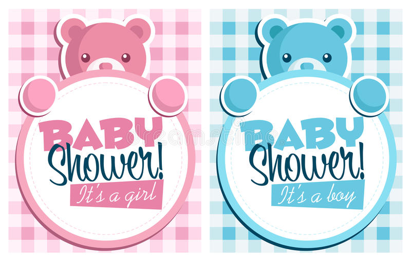 Baby shower invitation greeting cards stock illustration