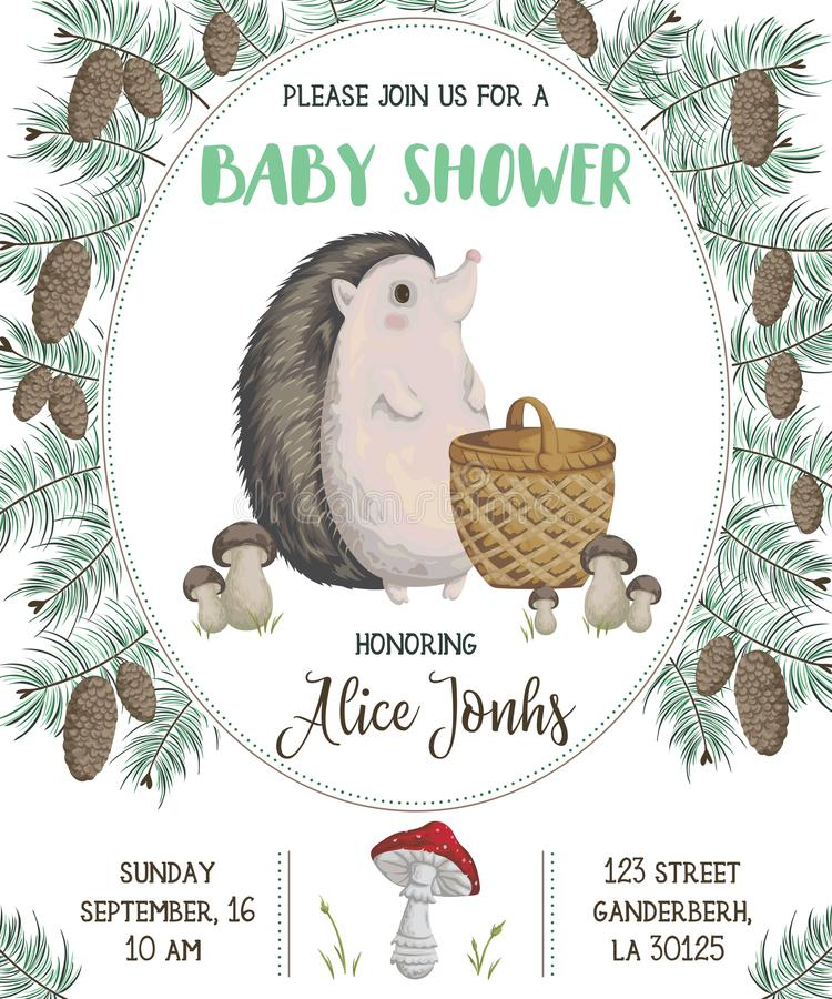 Baby shower invitation with hedgehog, basket, mushrooms, cones and spruce stock illustration