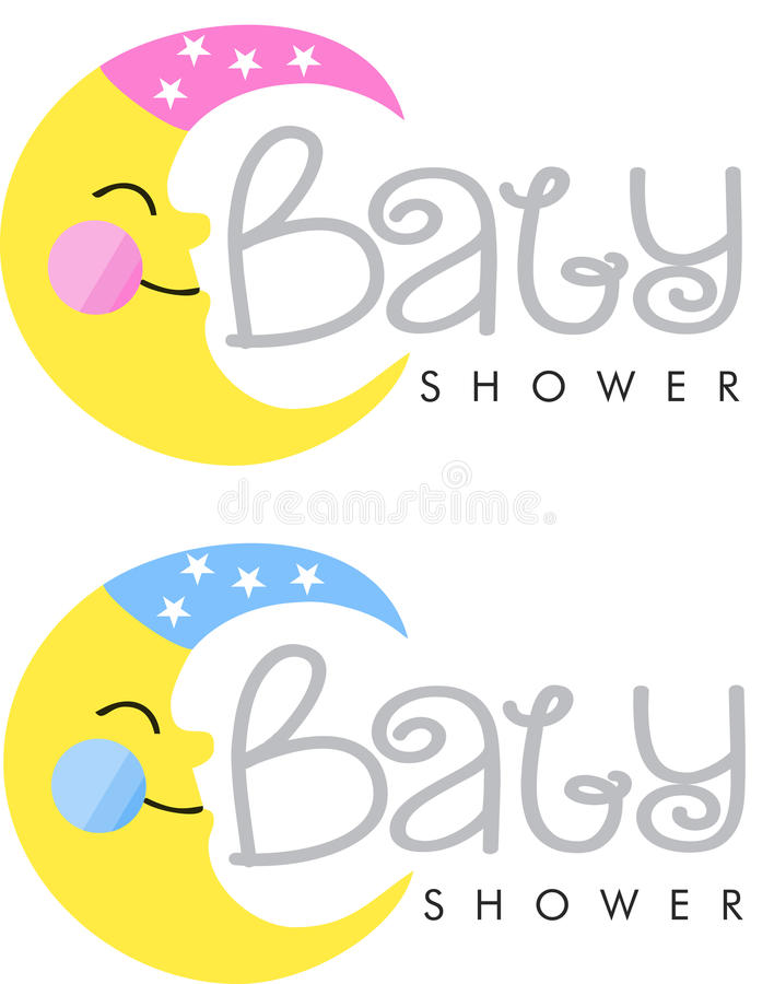 Baby shower invitation. Logo moon stock illustration