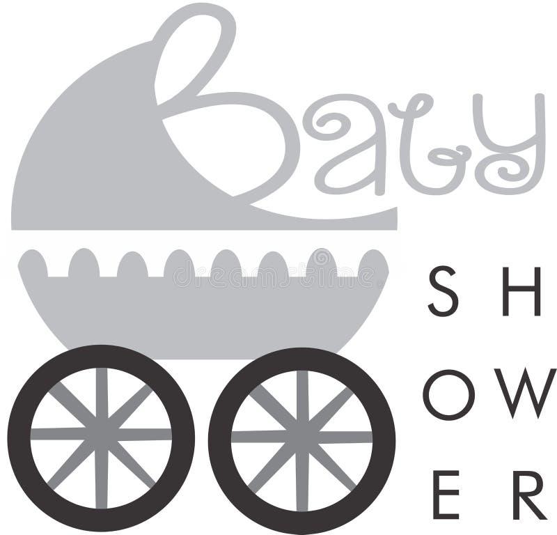 Baby shower invitation. Logo stroller royalty free illustration