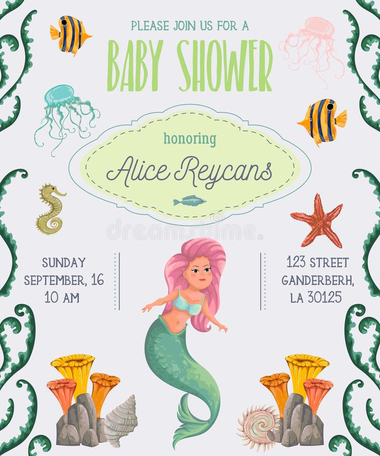Baby shower invitation with mermaid, marine plants and animals. Cartoon sea flora and fauna in watercolor style. royalty free illustration