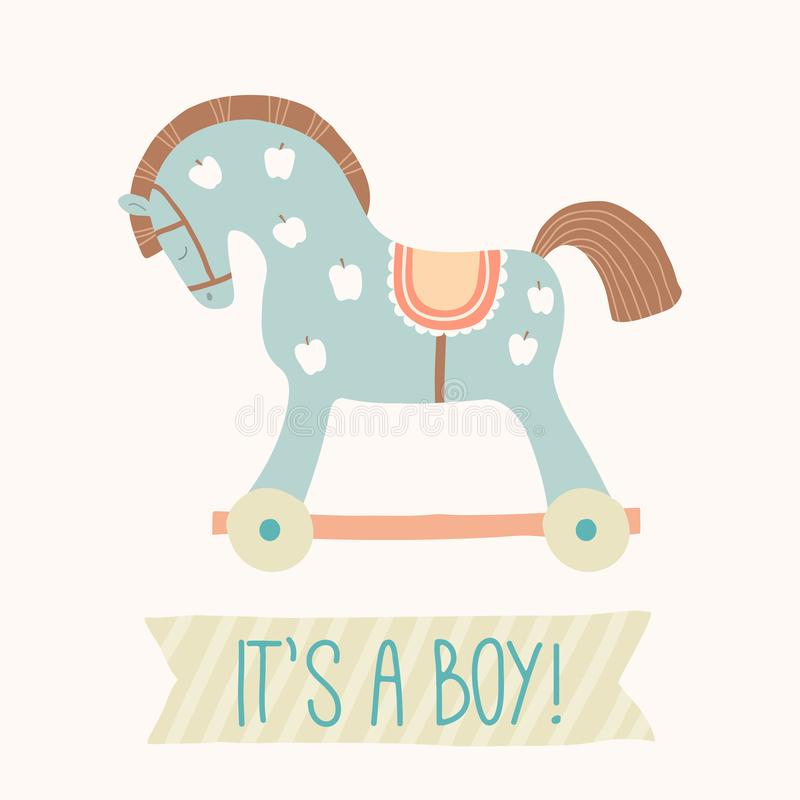 Baby shower invitation It s a boy . Cute toy horse with wheels. Kids First Toys. Baby shower design element. Cartoon. Vector hand drawn eps 10 illustration vector illustration